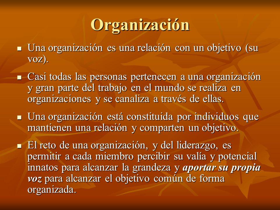 Organización Una organización es una relación con un objetivo (su voz). Una organización es una relación con un objetivo (su voz). Casi todas las pers
