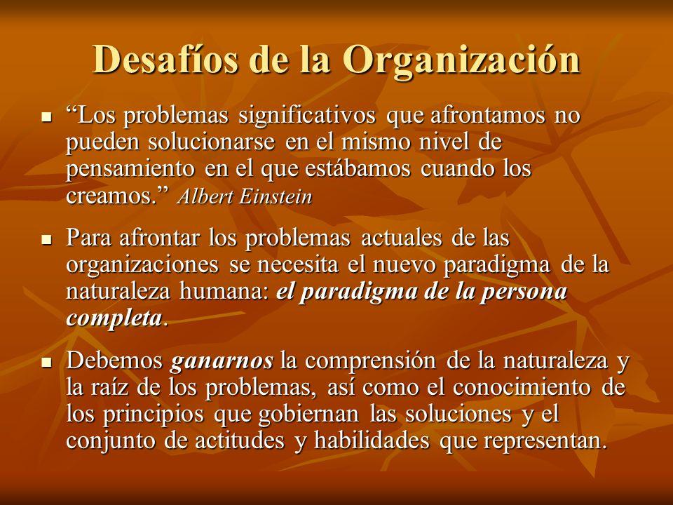 Desafíos de la Organización Los problemas significativos que afrontamos no pueden solucionarse en el mismo nivel de pensamiento en el que estábamos cu