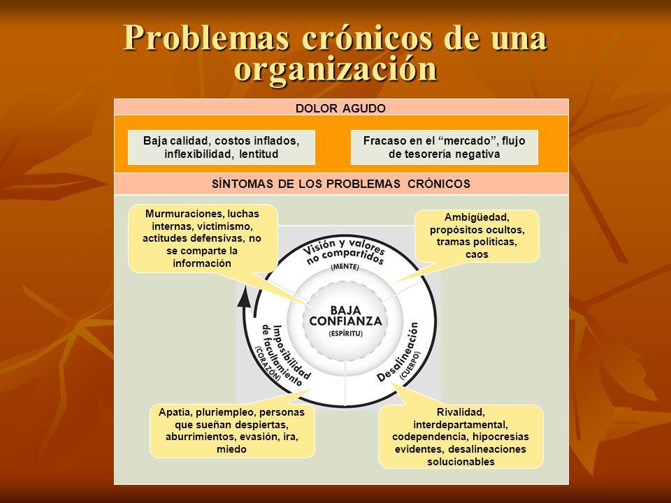 Problemas crónicos de una organización DOLOR AGUDO SÍNTOMAS DE LOS PROBLEMAS CRÓNICOS Baja calidad, costos inflados, inflexibilidad, lentitud Fracaso