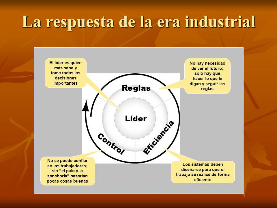 La respuesta de la era industrial Líder No hay necesidad de ver el futuro; sólo hay que hacer lo que le digan y seguir las reglas El líder es quién má