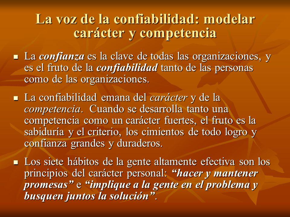 La voz de la confiabilidad: modelar carácter y competencia La confianza es la clave de todas las organizaciones, y es el fruto de la confiabilidad tan