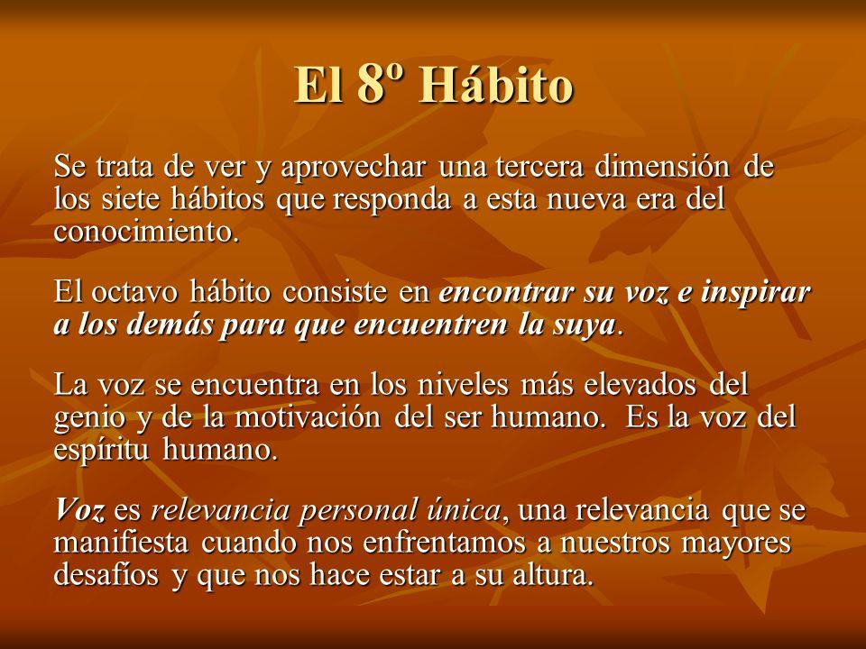 El 8º Hábito Se trata de ver y aprovechar una tercera dimensión de los siete hábitos que responda a esta nueva era del conocimiento. El octavo hábito