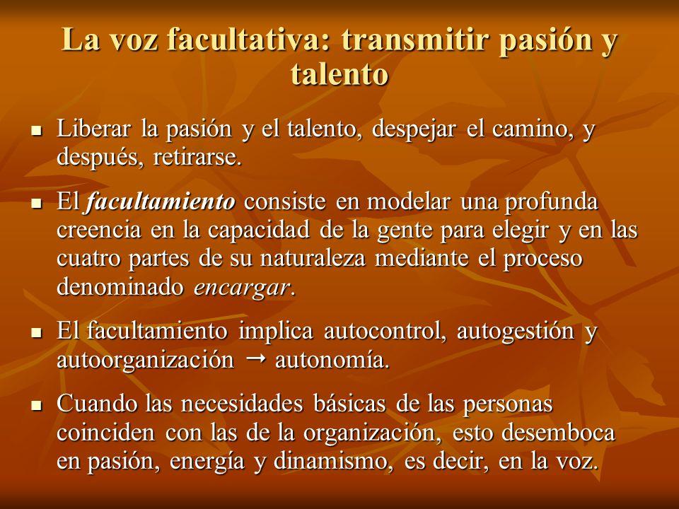 La voz facultativa: transmitir pasión y talento Liberar la pasión y el talento, despejar el camino, y después, retirarse. Liberar la pasión y el talen