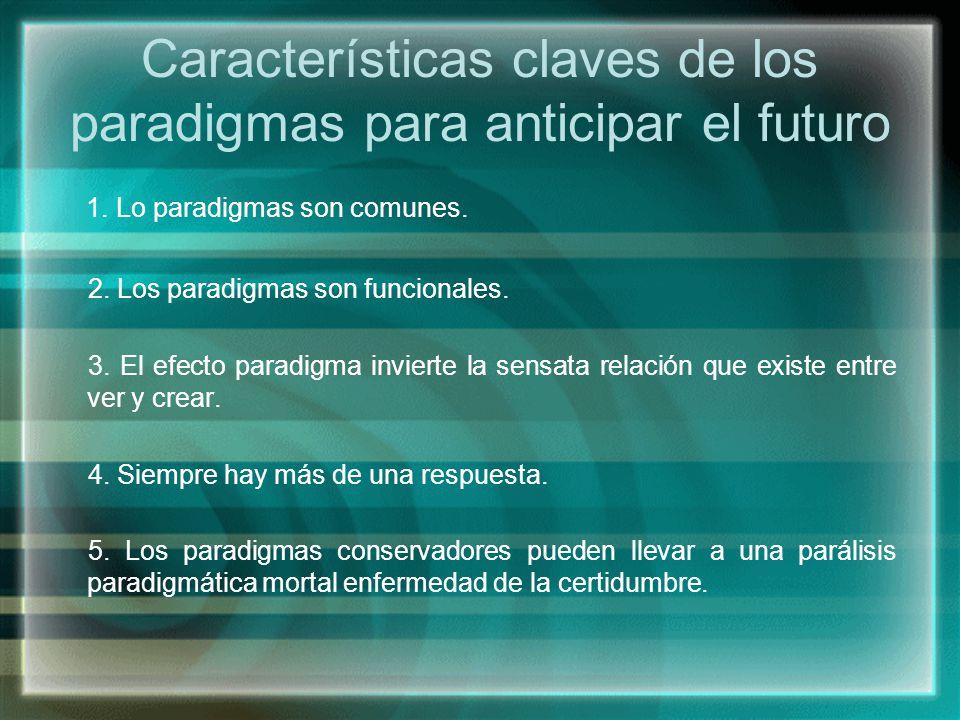 Características claves de los paradigmas para anticipar el futuro 1. Lo paradigmas son comunes. 2. Los paradigmas son funcionales. 3. El efecto paradi