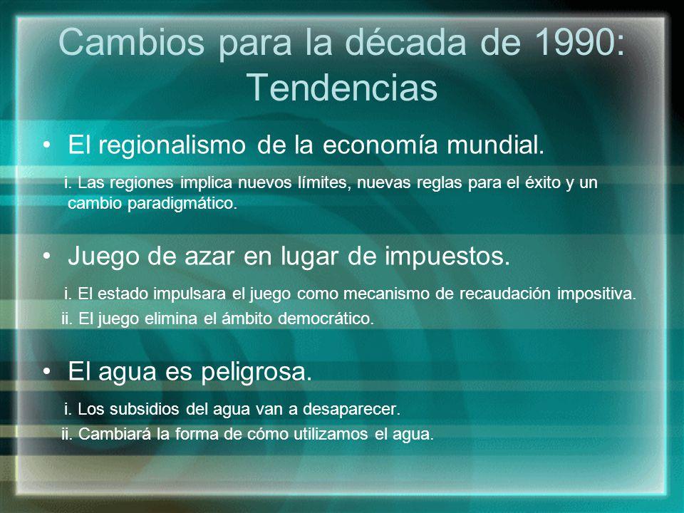 Cambios para la década de 1990: Tendencias El regionalismo de la economía mundial. i. Las regiones implica nuevos límites, nuevas reglas para el éxito
