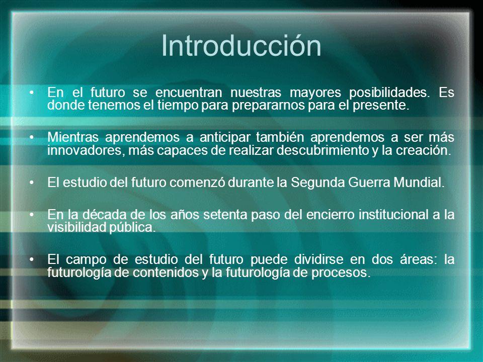 Introducción En el futuro se encuentran nuestras mayores posibilidades. Es donde tenemos el tiempo para prepararnos para el presente. Mientras aprende