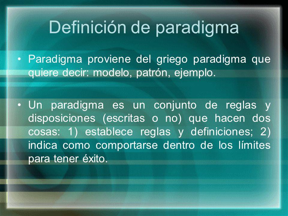 Definición de paradigma Paradigma proviene del griego paradigma que quiere decir: modelo, patrón, ejemplo. Un paradigma es un conjunto de reglas y dis