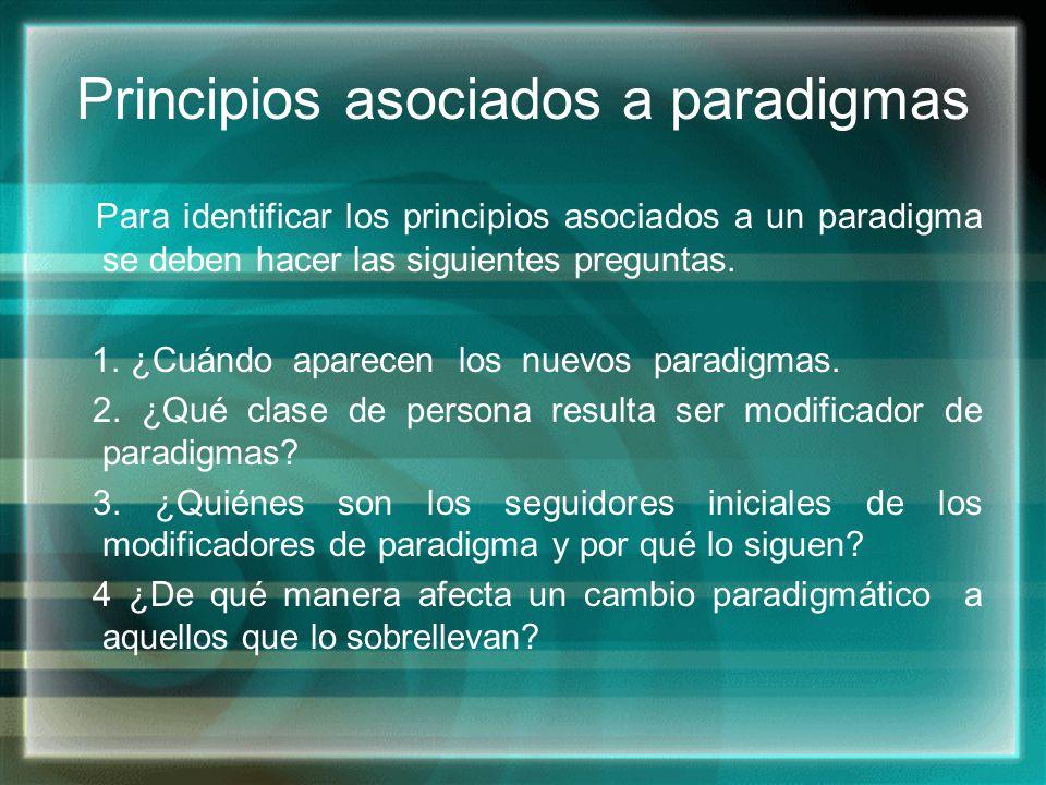 Principios asociados a paradigmas Para identificar los principios asociados a un paradigma se deben hacer las siguientes preguntas. 1. ¿Cuándo aparece