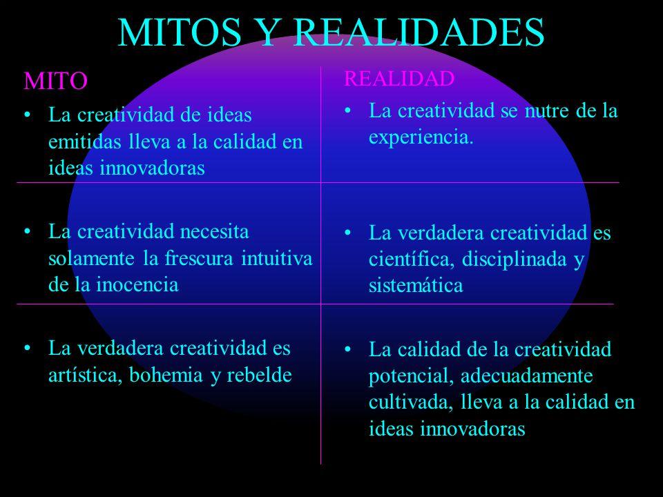 MITOS Y REALIDADES MITO La creatividad de ideas emitidas lleva a la calidad en ideas innovadoras La creatividad necesita solamente la frescura intuiti