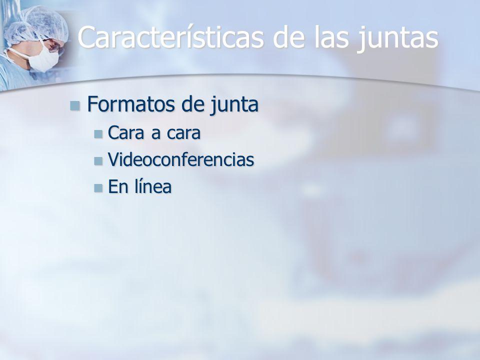 Características de las juntas Formatos de junta Formatos de junta Cara a cara Cara a cara Videoconferencias Videoconferencias En línea En línea