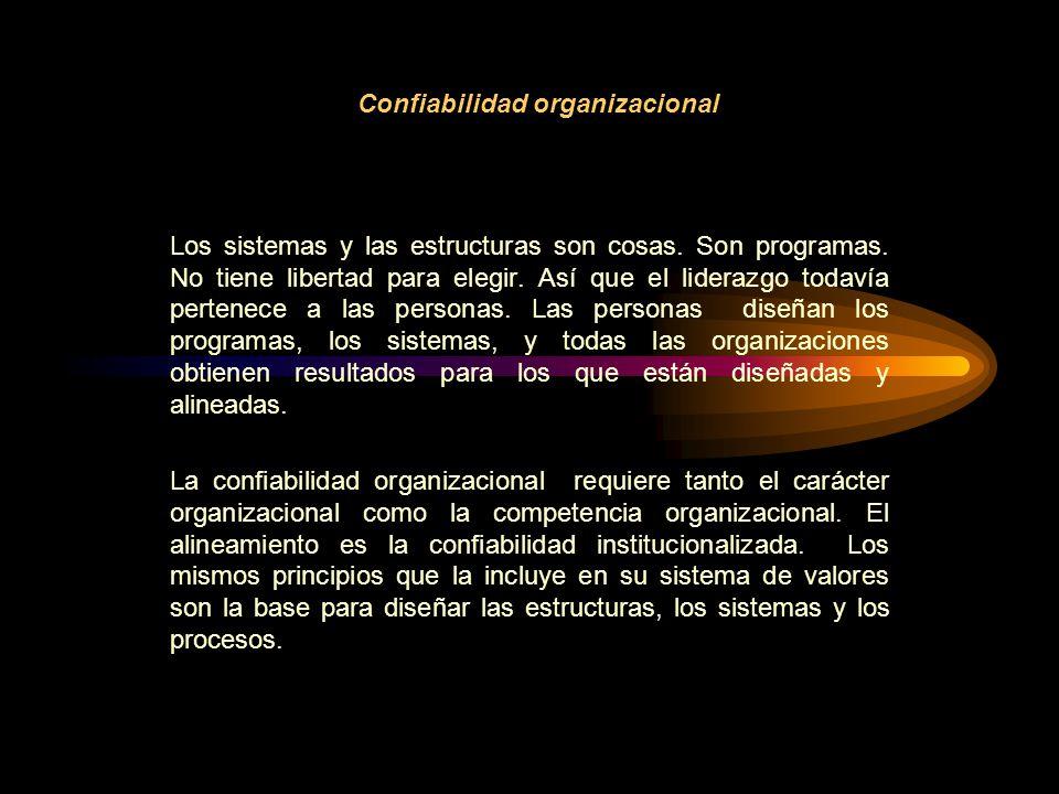 Confiabilidad organizacional Los sistemas y las estructuras son cosas.