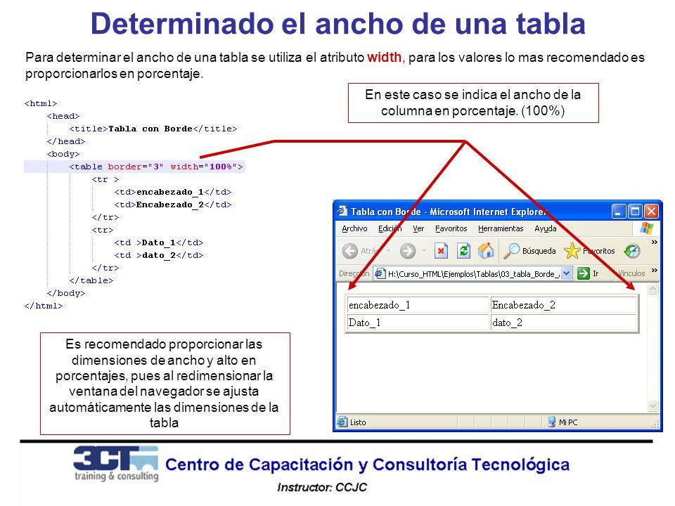 Determinado el ancho de una tabla Para determinar el ancho de una tabla se utiliza el atributo width, para los valores lo mas recomendado es proporcionarlos en porcentaje.