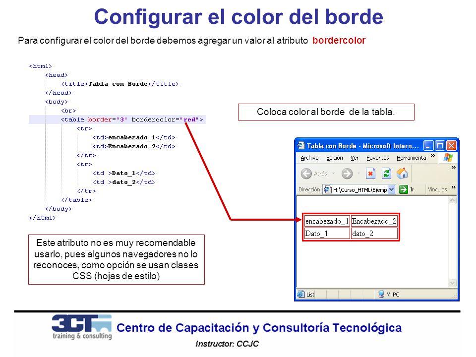 Configurar el color del borde Para configurar el color del borde debemos agregar un valor al atributo bordercolor Este atributo no es muy recomendable usarlo, pues algunos navegadores no lo reconoces, como opción se usan clases CSS (hojas de estilo) Coloca color al borde de la tabla.
