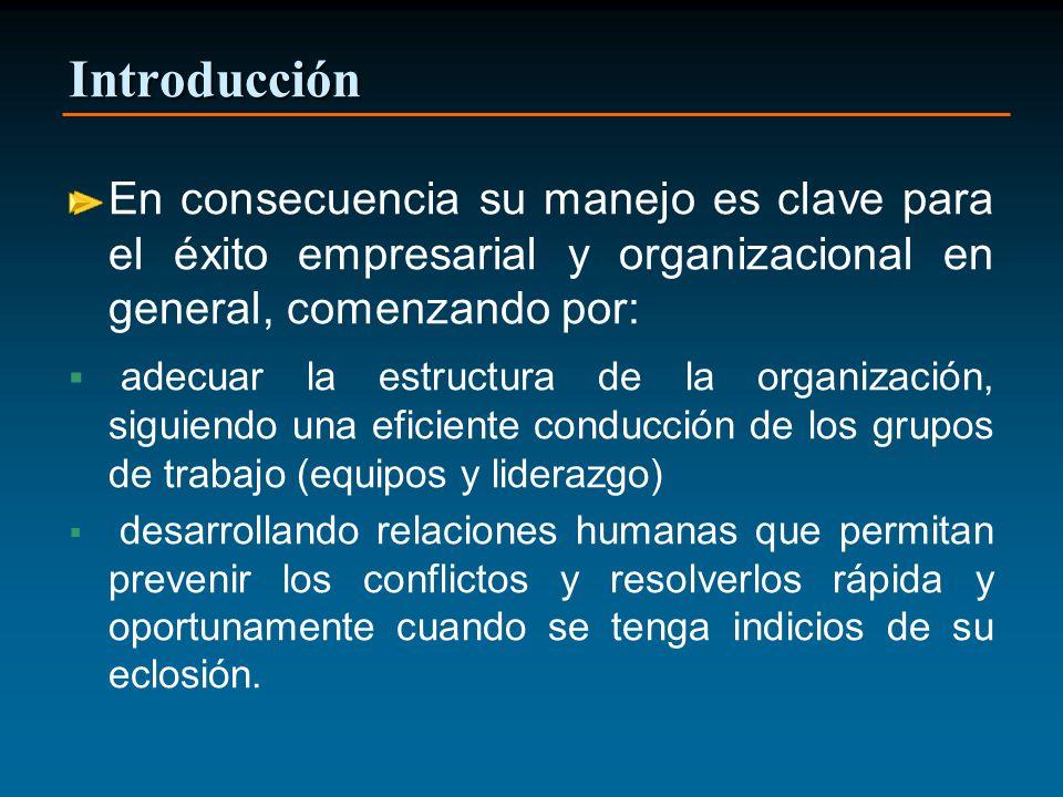Introducción En consecuencia su manejo es clave para el éxito empresarial y organizacional en general, comenzando por: adecuar la estructura de la org