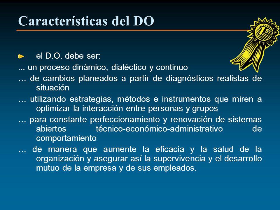 Características del DO el D.O. debe ser:... un proceso dinámico, dialéctico y continuo … de cambios planeados a partir de diagnósticos realistas de si