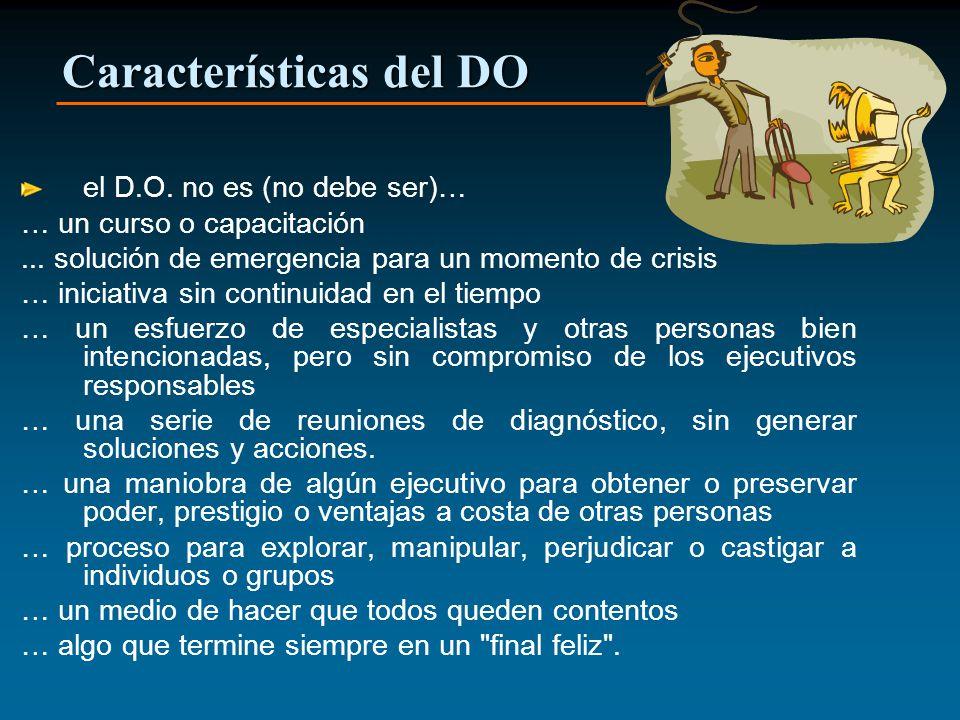 Características del DO el D.O. no es (no debe ser)… … un curso o capacitación... solución de emergencia para un momento de crisis … iniciativa sin con