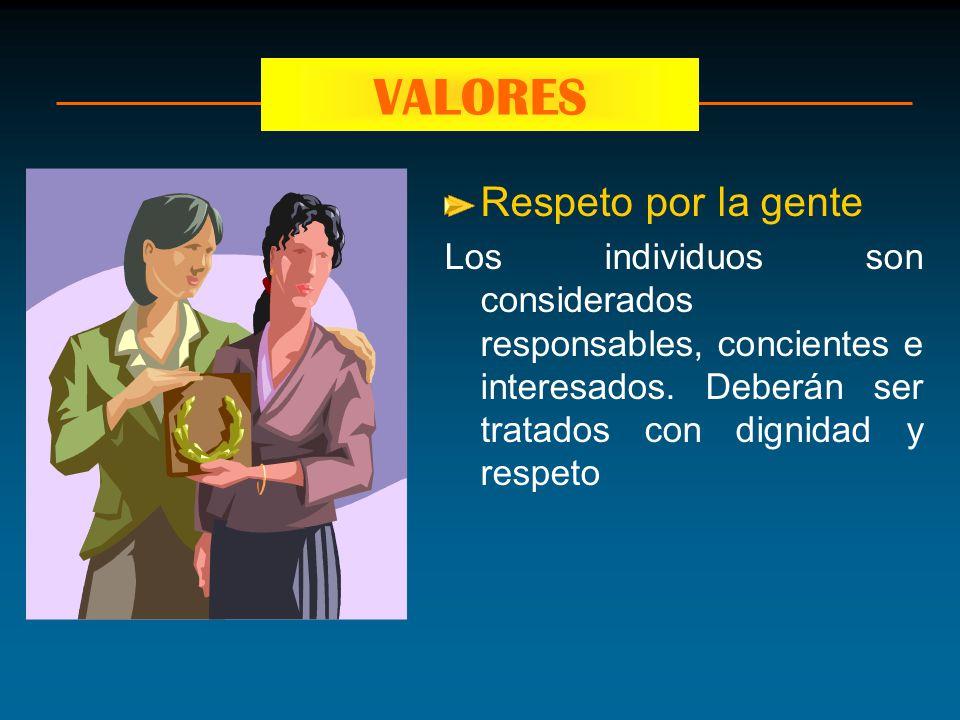 Respeto por la gente Los individuos son considerados responsables, concientes e interesados. Deberán ser tratados con dignidad y respeto VALORES