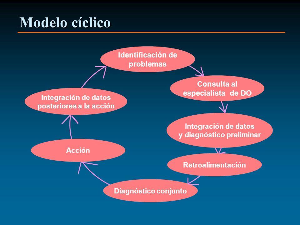 Modelo cíclico Identificación de problemas Consulta al especialista de DO Integración de datos y diagnóstico preliminar Retroalimentación Diagnóstico conjunto Acción Integración de datos posteriores a la acción