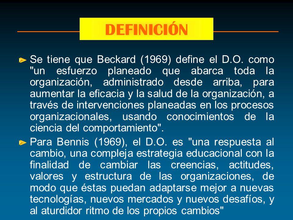 Se tiene que Beckard (1969) define el D.O. como