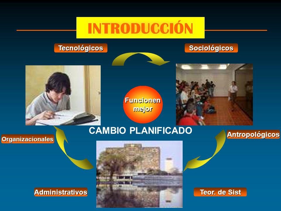 Funcionenmejor Teor. de Sist SociológicosTecnológicos Administrativos Organizacionales Antropológicos CAMBIO PLANIFICADO INTRODUCCIÓN