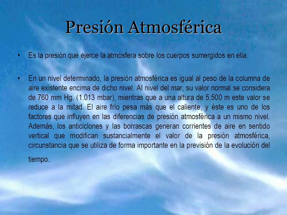 Presión Atmosférica Es la presión que ejerce la atmósfera sobre los cuerpos sumergidos en ella.