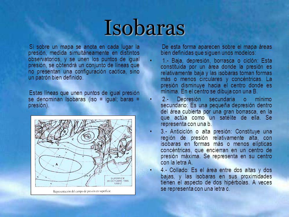 Isobaras Si sobre un mapa se anota en cada lugar la presión, medida simultáneamente en distintos observatorios, y se unen los puntos de igual presión,