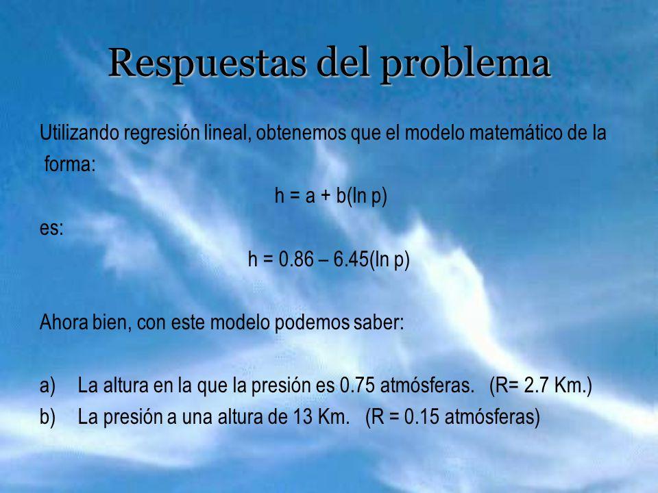 Respuestas del problema Utilizando regresión lineal, obtenemos que el modelo matemático de la forma: h = a + b(ln p) es: h = 0.86 – 6.45(ln p) Ahora bien, con este modelo podemos saber: a)La altura en la que la presión es 0.75 atmósferas.