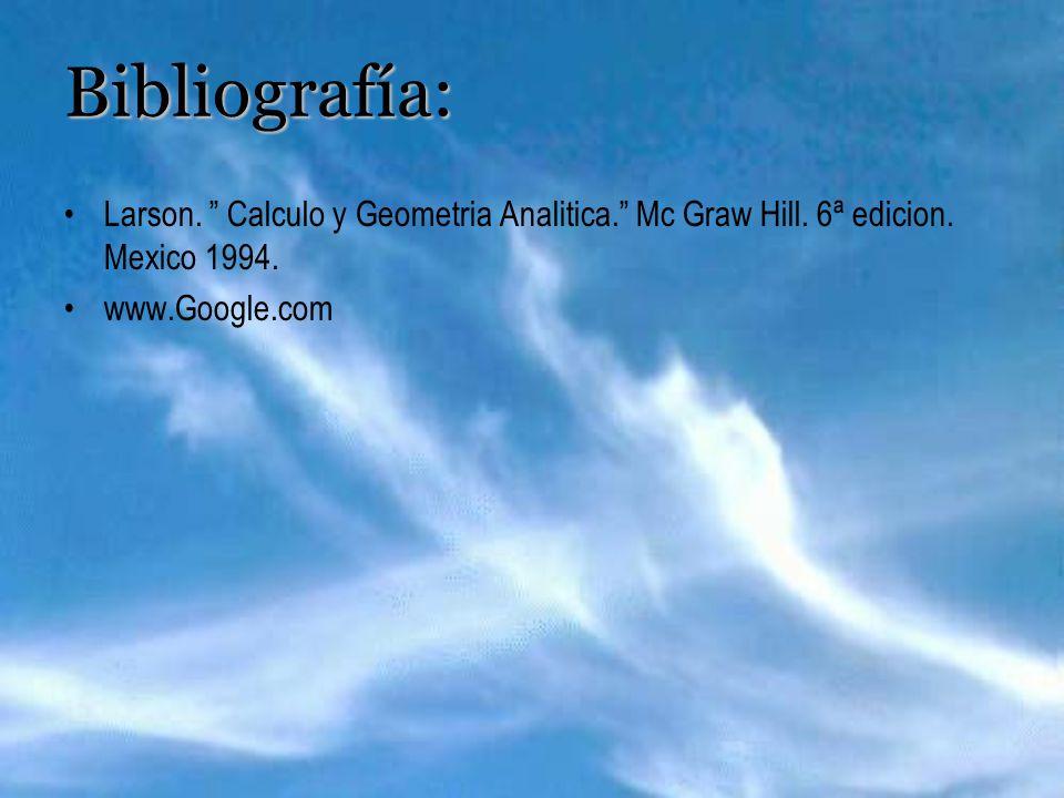 Bibliografía: Larson. Calculo y Geometria Analitica. Mc Graw Hill. 6ª edicion. Mexico 1994. www.Google.com