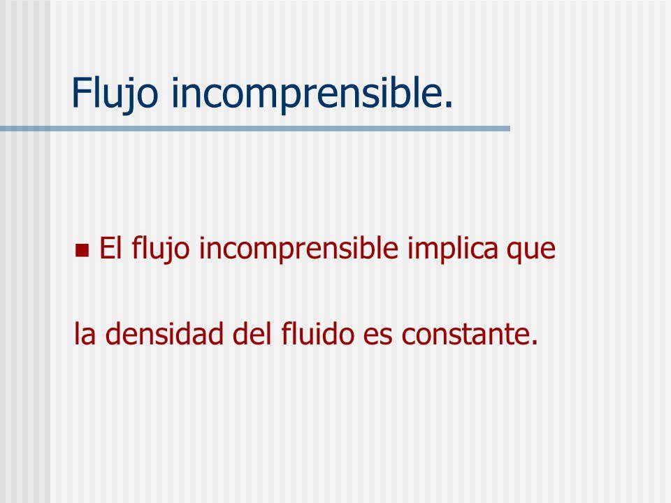 Flujo incomprensible. El flujo incomprensible implica que la densidad del fluido es constante.