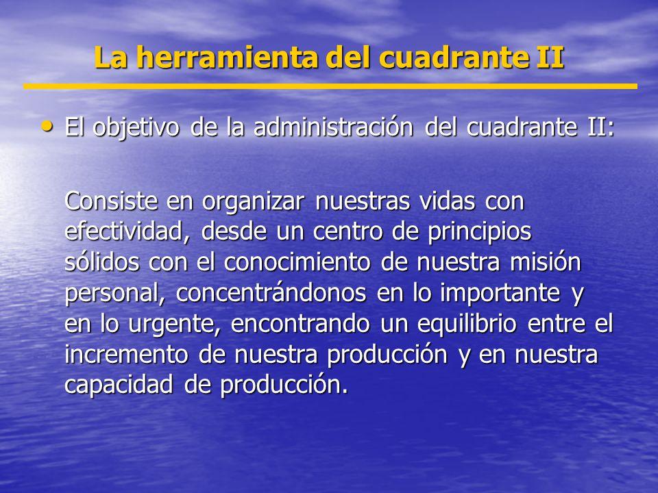 La herramienta del cuadrante II El objetivo de la administración del cuadrante II: El objetivo de la administración del cuadrante II: Consiste en orga