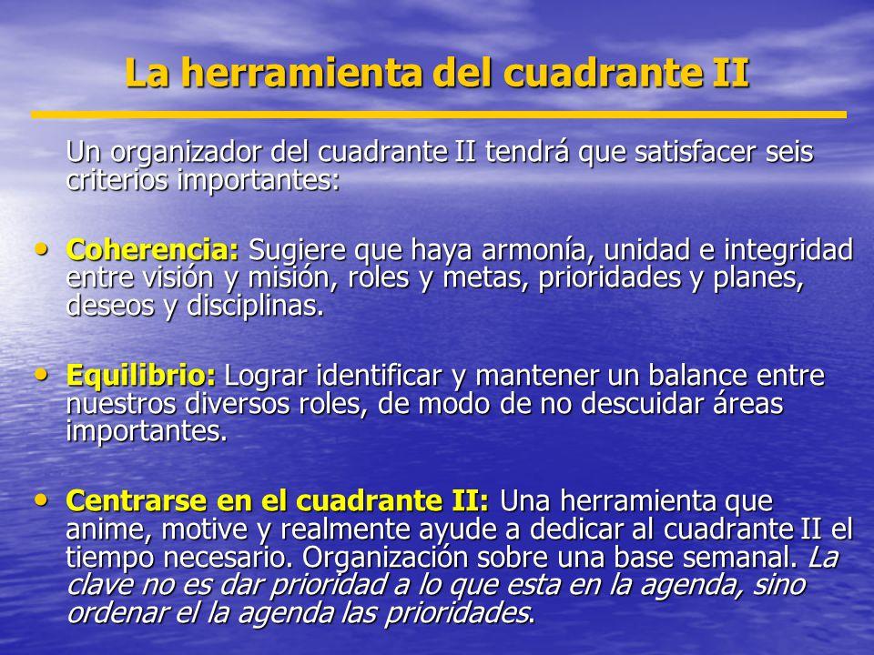 La herramienta del cuadrante II Un organizador del cuadrante II tendrá que satisfacer seis criterios importantes: Coherencia: Sugiere que haya armonía