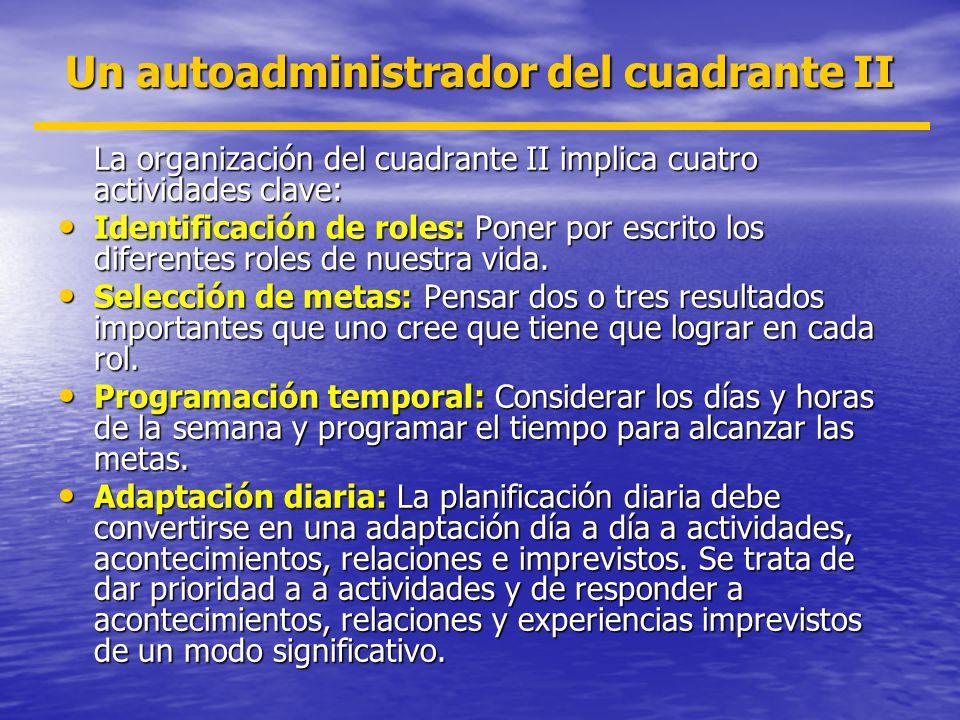 Un autoadministrador del cuadrante II La organización del cuadrante II implica cuatro actividades clave: Identificación de roles: Poner por escrito lo
