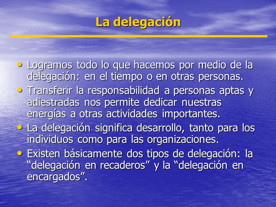 La delegación Logramos todo lo que hacemos por medio de la delegación: en el tiempo o en otras personas. Logramos todo lo que hacemos por medio de la