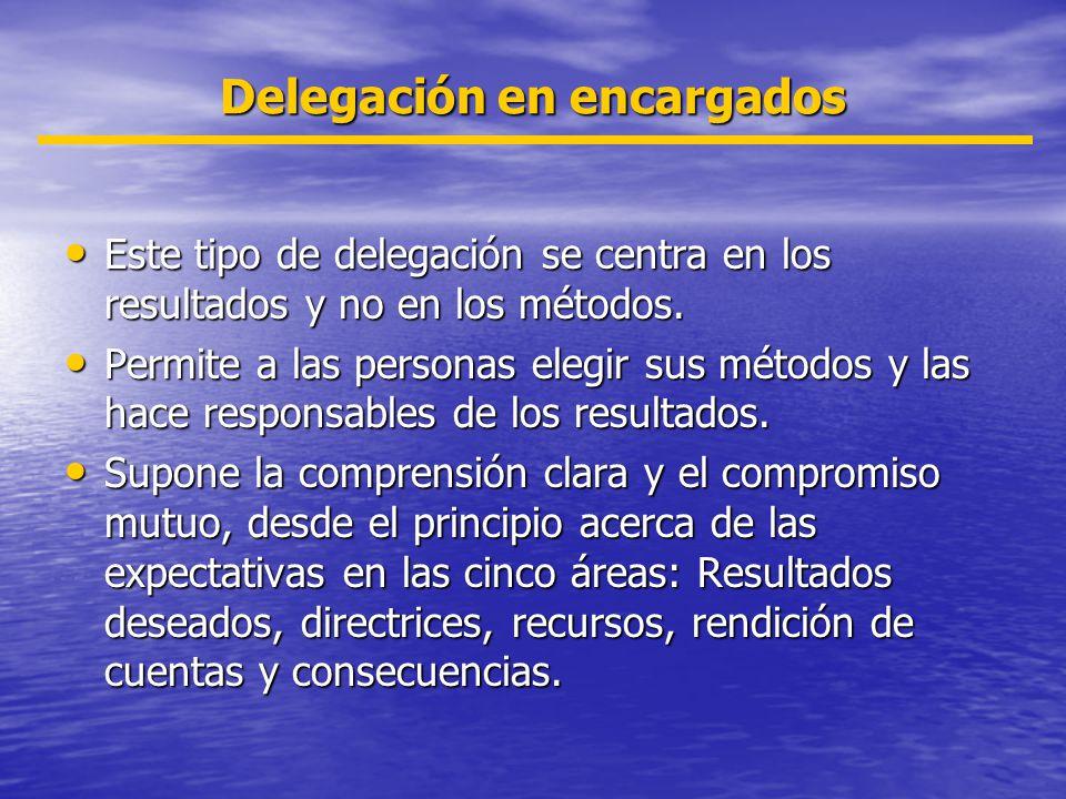 Delegación en encargados Este tipo de delegación se centra en los resultados y no en los métodos. Este tipo de delegación se centra en los resultados