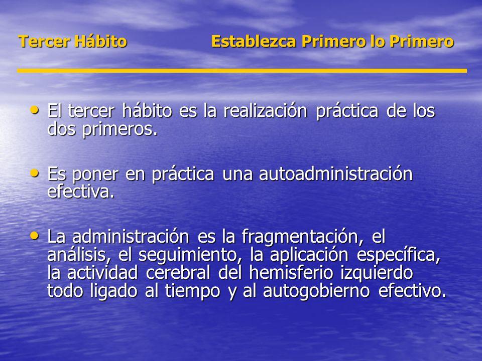 Tercer Hábito Establezca Primero lo Primero El tercer hábito es la realización práctica de los dos primeros. El tercer hábito es la realización prácti