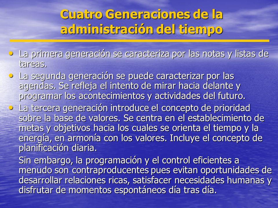 Cuatro Generaciones de la administración del tiempo La primera generación se caracteriza por las notas y listas de tareas. La primera generación se ca