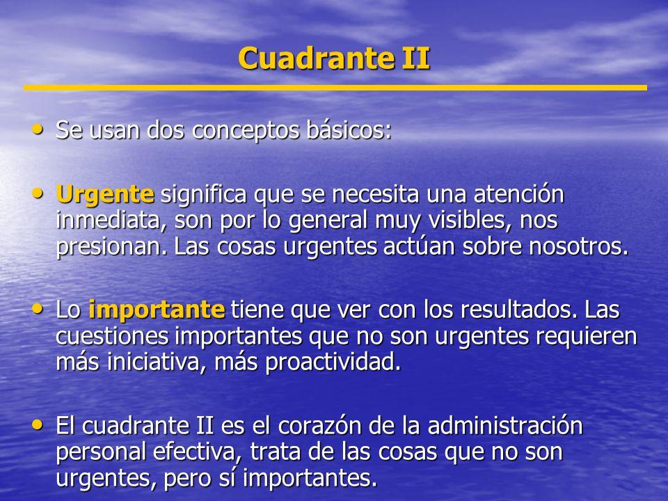 Cuadrante II Se usan dos conceptos básicos: Se usan dos conceptos básicos: Urgente significa que se necesita una atención inmediata, son por lo genera