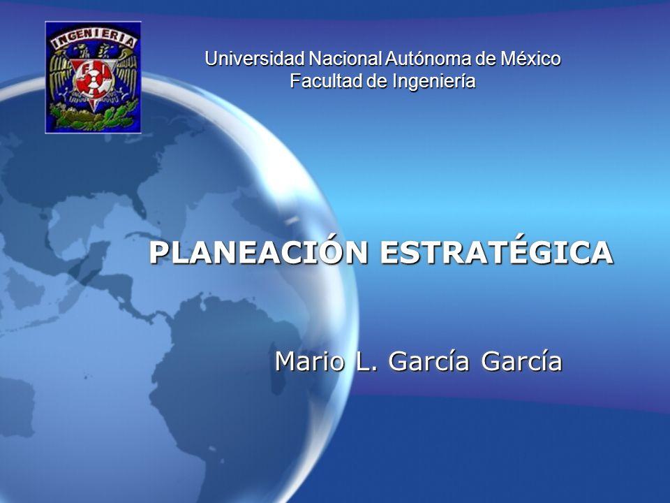 PLANEACIÓN ESTRATÉGICA Mario L. García García Universidad Nacional Autónoma de México Facultad de Ingeniería