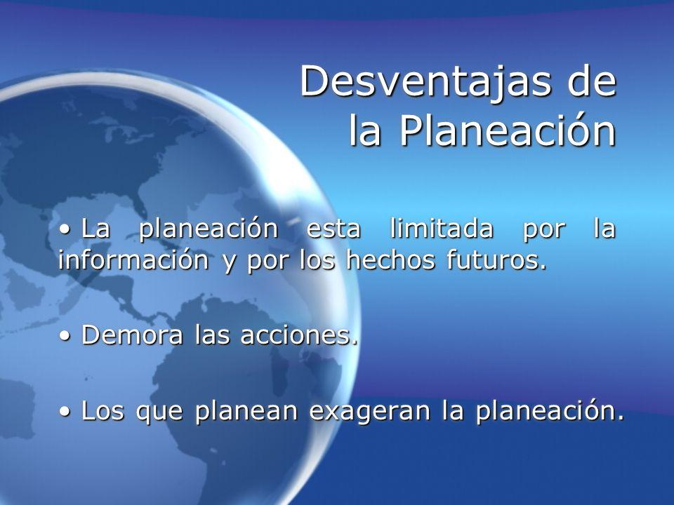 Desventajas de la Planeación La planeación esta limitada por la información y por los hechos futuros. La planeación esta limitada por la información y