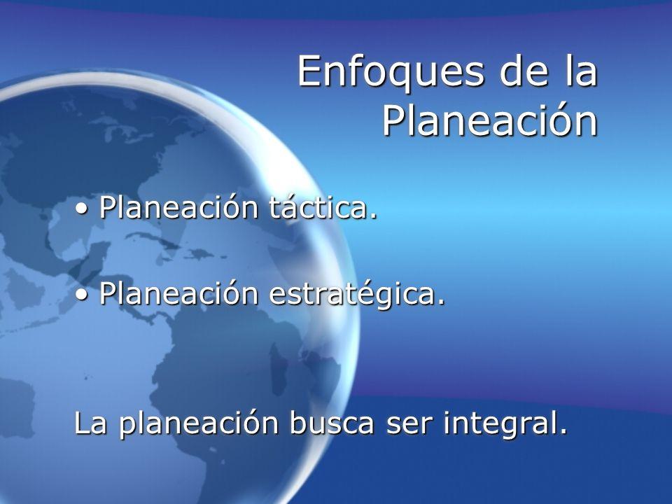 Enfoques de la Planeación Planeación táctica.Planeación táctica. Planeación estratégica.Planeación estratégica. La planeación busca ser integral. Plan