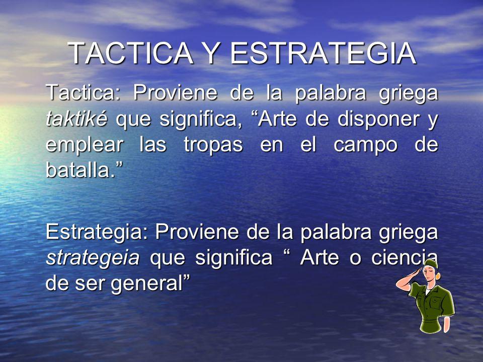 TACTICA Y ESTRATEGIA Tactica: Proviene de la palabra griega taktiké que significa, Arte de disponer y emplear las tropas en el campo de batalla. Estra
