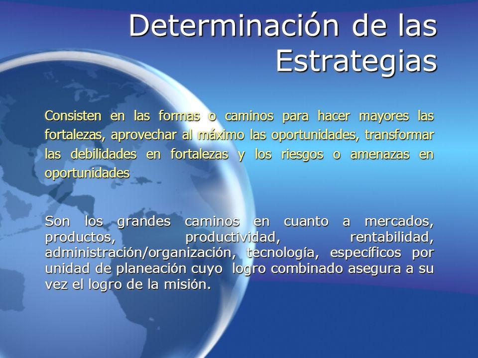 Determinación de las Estrategias Consisten en las formas o caminos para hacer mayores las fortalezas, aprovechar al máximo las oportunidades, transfor