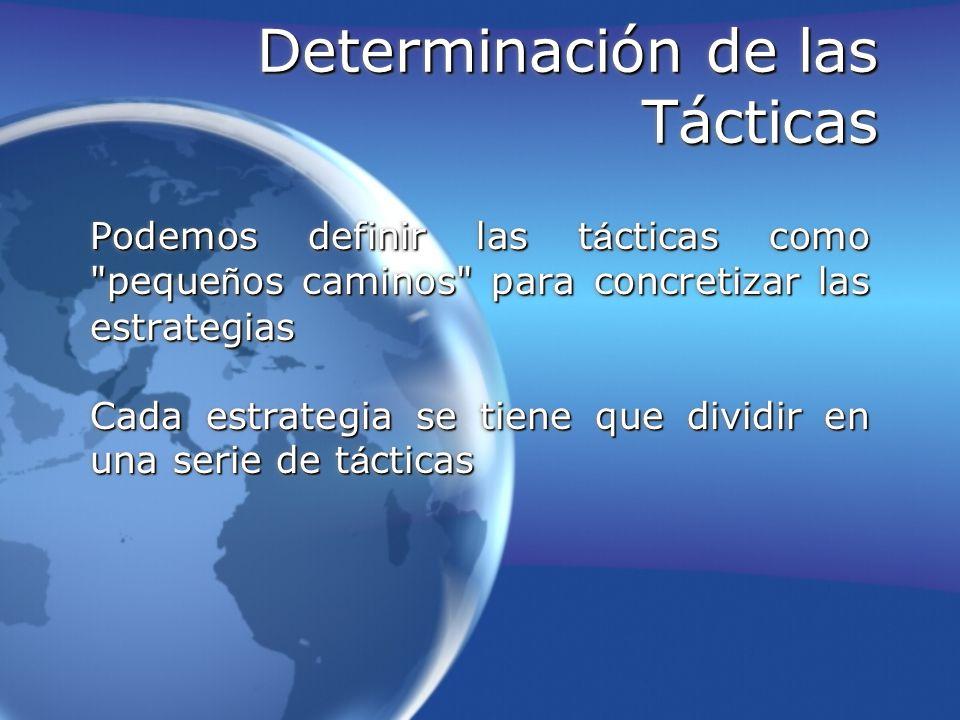Determinación de las Tácticas Podemos definir las t á cticas como
