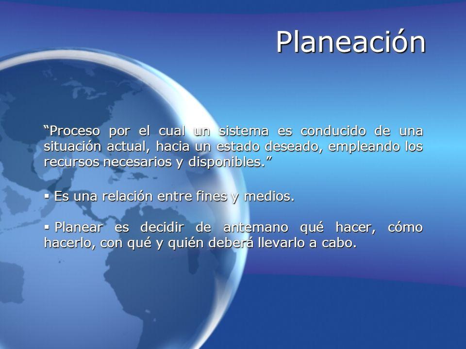 Planeación Proceso por el cual un sistema es conducido de una situación actual, hacia un estado deseado, empleando los recursos necesarios y disponibl
