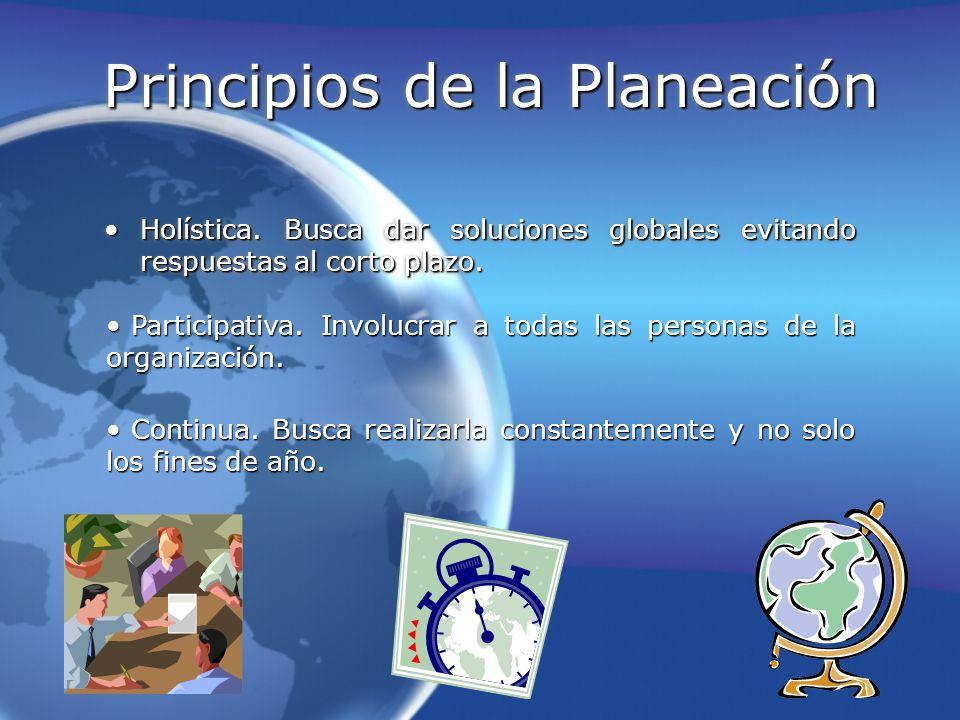 Principios de la Planeación Holística. Busca dar soluciones globales evitando respuestas al corto plazo.Holística. Busca dar soluciones globales evita