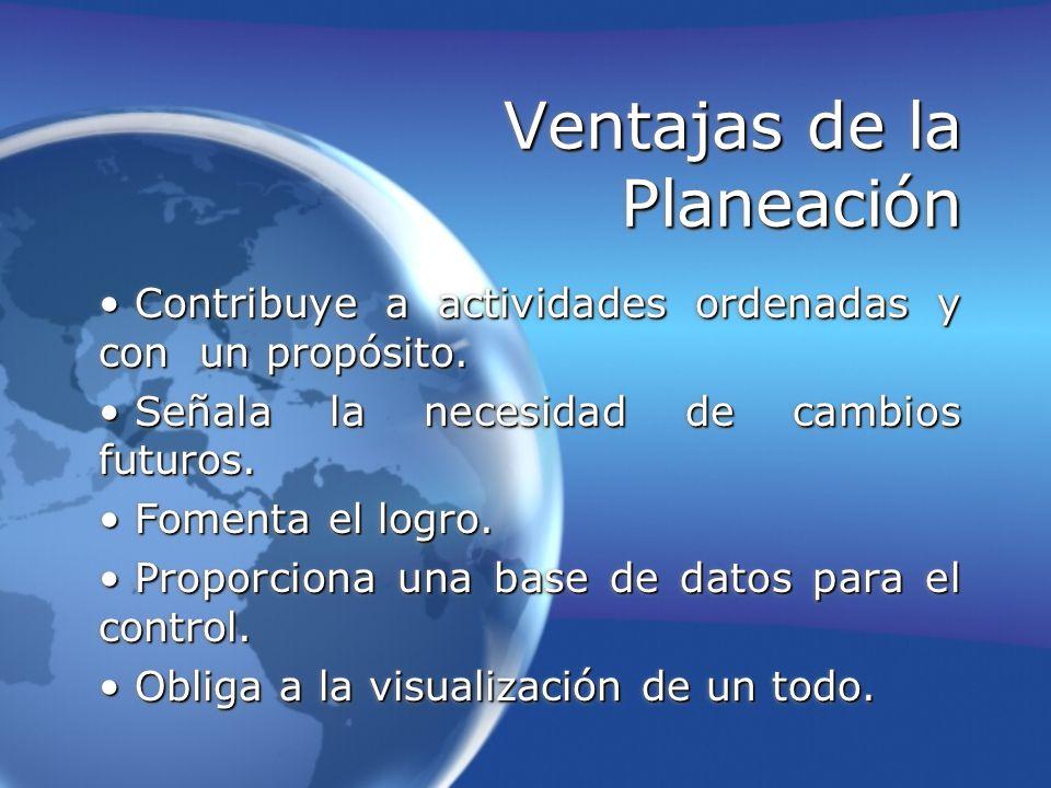 Ventajas de la Planeación Contribuye a actividades ordenadas y con un propósito. Contribuye a actividades ordenadas y con un propósito. Señala la nece
