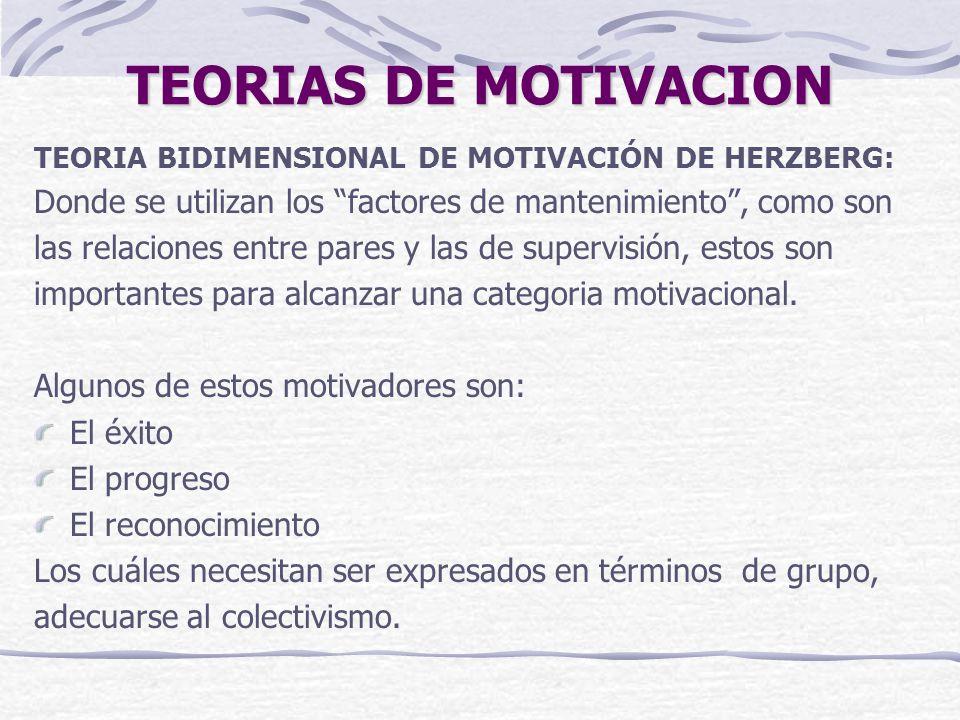 TEORIAS DE MOTIVACION TEORIA BIDIMENSIONAL DE MOTIVACIÓN DE HERZBERG: Donde se utilizan los factores de mantenimiento, como son las relaciones entre pares y las de supervisión, estos son importantes para alcanzar una categoria motivacional.