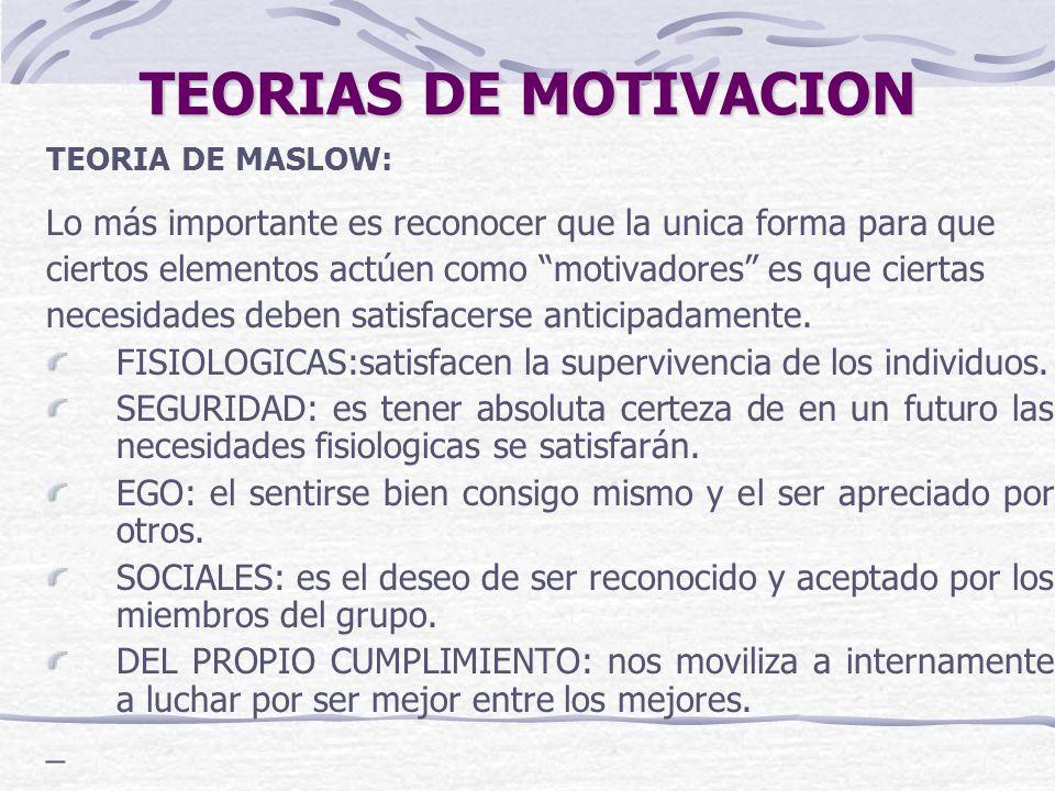 TEORIAS DE MOTIVACION TEORIA DE MASLOW: Lo más importante es reconocer que la unica forma para que ciertos elementos actúen como motivadores es que ci