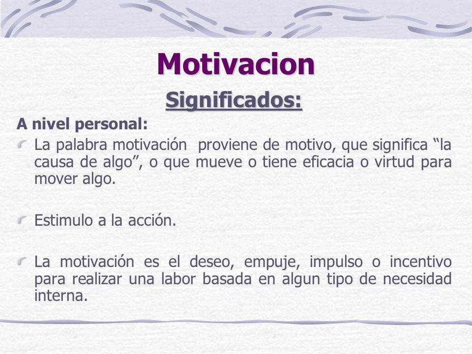 Motivacion Significados: A nivel personal: La palabra motivación proviene de motivo, que significa la causa de algo, o que mueve o tiene eficacia o vi