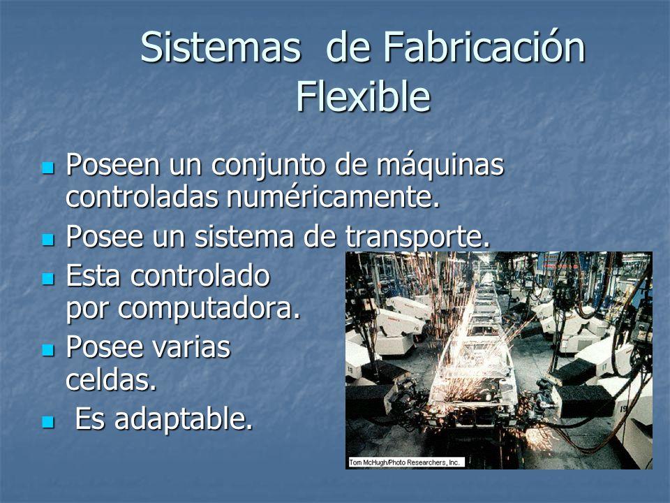 Sistemas de Fabricación Flexible Poseen un conjunto de máquinas controladas numéricamente. Poseen un conjunto de máquinas controladas numéricamente. P